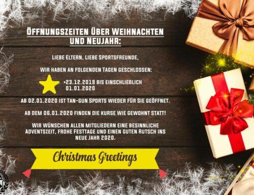 Öffnungszeiten zu Weihnachten und Neujahr 2019/2020